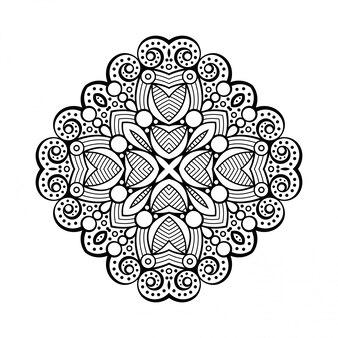 Desenho de mandala lineart, elementos decorativos