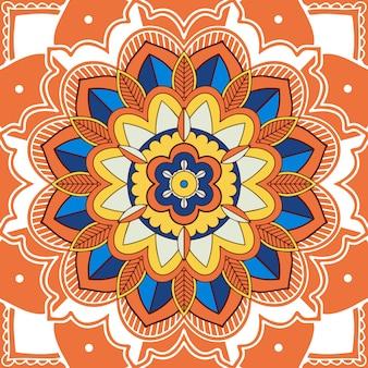 Desenho de mandala na cor laranja