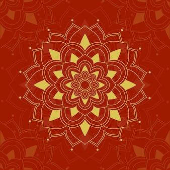 Desenho de mandala no vermelho
