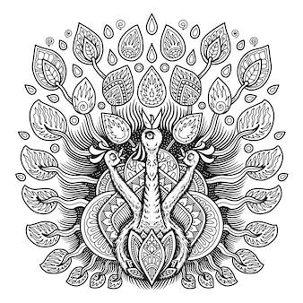 Desenho de mandala pavão para livro de colorir
