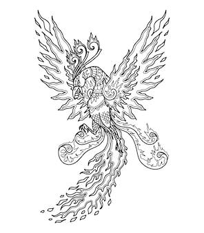 Desenho de mandala phoenix para livro de colorir ou impressão de desenho de camiseta