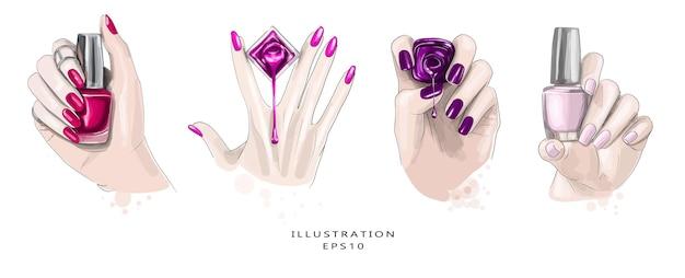 Desenho de manicure bonito desenhado de mão. conjunto de quatro esboços.