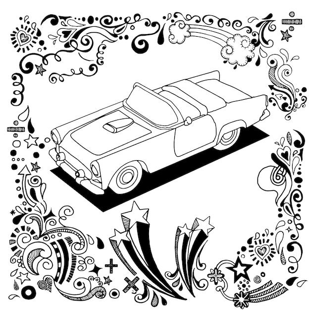 Desenho de mão carro antigo com ornamental
