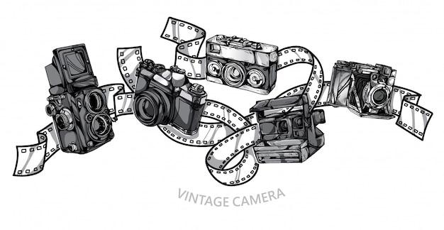Desenho de mão conjunto vintage de câmera