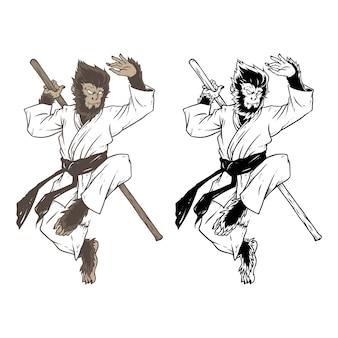 Desenho de mão de arte marcial de macaco
