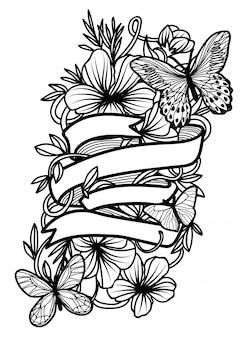 Desenho de mão de borboleta de arte de tatuagem e esboço com ilustração de arte de linha isolada