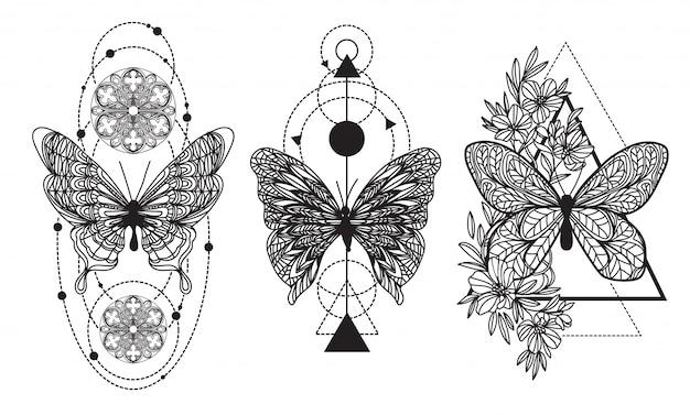 Desenho de mão de borboleta de arte de tatuagem e esboço com ilustração de arte de linha