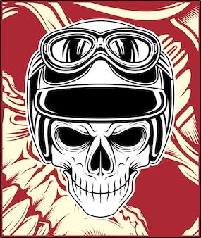 Desenho de mão de capacete de caveira