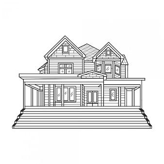 Desenho de mão de casa clássica