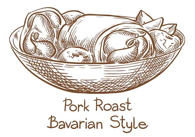 Desenho de mão de desenho de vetor de carne de porco assada