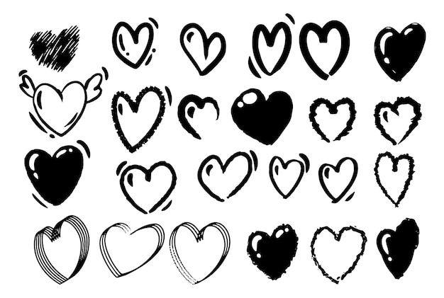 Desenho de mão de estilo doodle. desenhos em preto e branco de corações. ilustração isolada do vetor.