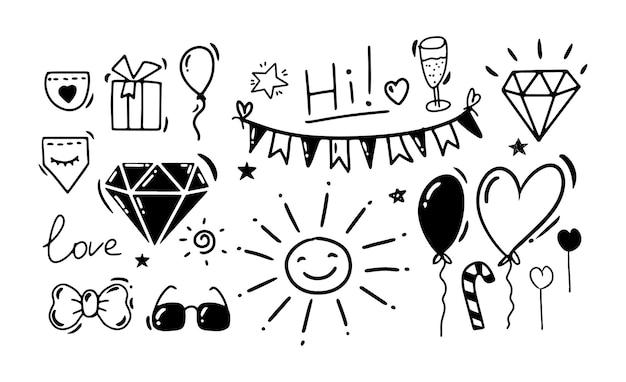 Desenho de mão de estilo doodle desenhos em preto e branco de vetor isolado de aniversário de feriado
