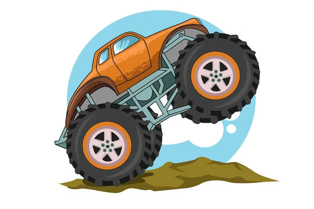 Desenho de mão de ilustração de caminhão monstro pulando