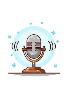 Desenho de mão de ilustração de microfone