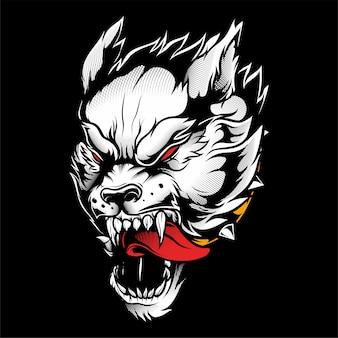 Desenho de mão de lobo vector