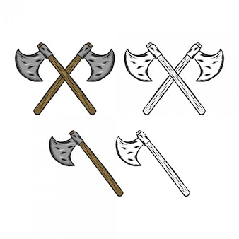 Desenho de mão de machado transversal