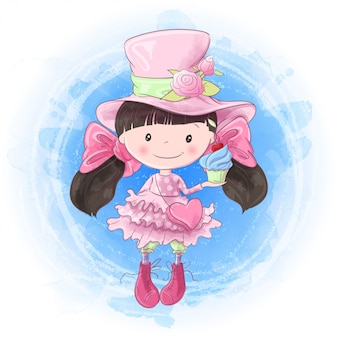 Desenho de mão de menina bonito dos desenhos animados. ilustração vetorial
