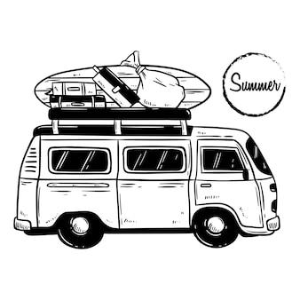 Desenho de mão de mini ônibus com prancha de surf para as férias de verão