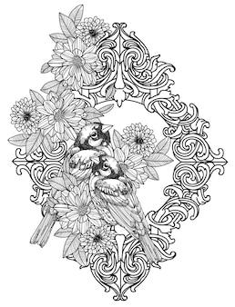 Desenho de mão de pássaro de arte de tatuagem e esboço preto e branco com ilustração de arte de linha