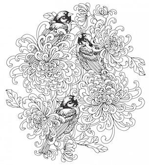 Desenho de mão de pássaro de arte de tatuagem