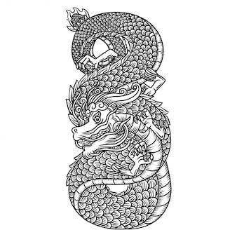 Desenho de mão de preto e branco de ilustração de dragão esculpido