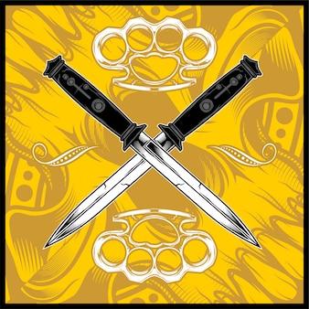 Desenho de mão de punhal cruz