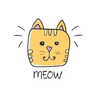 Desenho de mão de rosto de gato fofo e sinal de miau - desenho de ilustração vetorial - estampa de camiseta gráfica