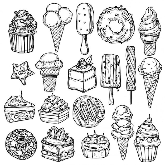 Desenho de mão de sorvete e sketch preto e branco