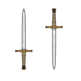 Desenho de mão de vetor de espadas