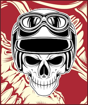 Desenho de mão do crânio capacete vector
