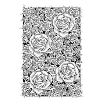Desenho de mão flor vector