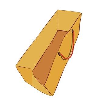 Desenho de mão marrom de vetor simples, esboço de saco de papel com corda vermelha para simulação, isolado no branco