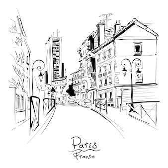Desenho de mão preto e branco. rua de paris com casas tradicionais e lanternas, paris, frança.