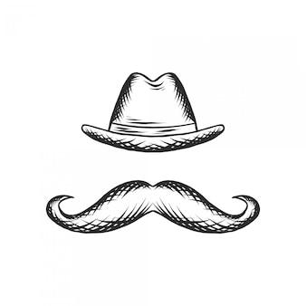 Desenho de mão vintage de chapéu e bigode movember