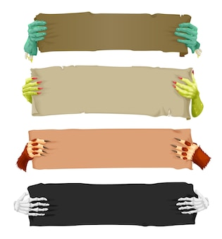 Desenho de mãos de monstros assustadores com faixas de rolagem