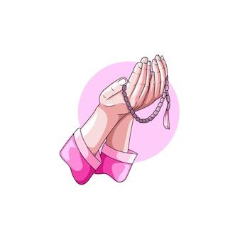 Desenho de mãos em oração com contas de oração para o ramadã islâmico kareem Vetor Premium
