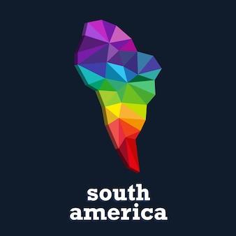 Desenho de mapa de cores. continente triangular colorido