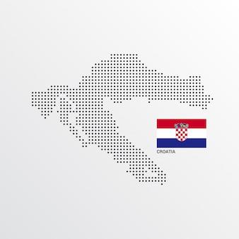 Desenho de mapa de croácia com bandeira e luz de fundo vector