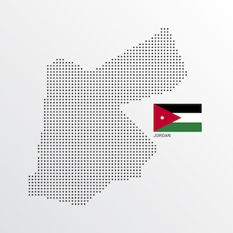 Desenho de mapa de jordan com bandeira e luz de fundo vector