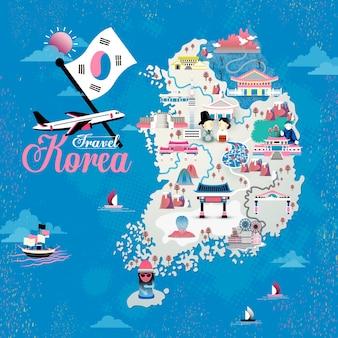 Desenho de mapa de viagem para a coreia com atrações