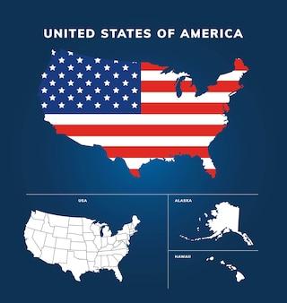 Desenho de mapa estados unidos da américa