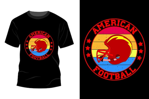 Desenho de maquete de camiseta de futebol americano vintage retrô