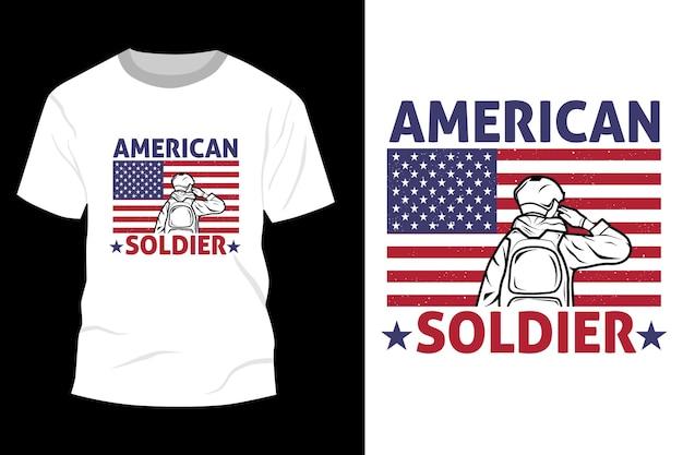 Desenho de maquete de camiseta de soldado americano vintage retrô