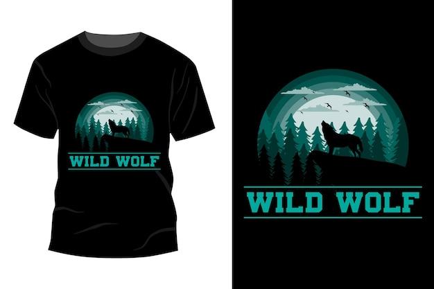 Desenho de maquete de t-shirt de lobo selvagem vintage retro