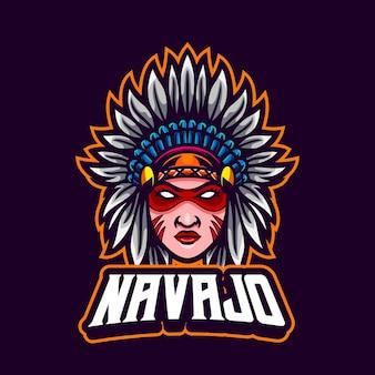Desenho de mascote autêntico de uma garota nativa americana