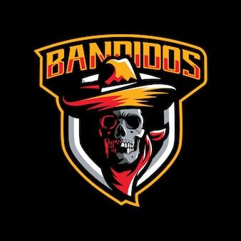 Desenho de mascote bandido para esporte isolado no preto