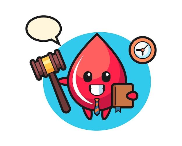 Desenho de mascote com gota de sangue como juiz, estilo fofo, adesivo, elemento de logotipo