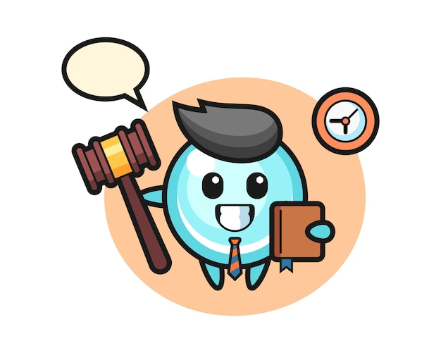 Desenho de mascote da bolha como juiz, design de estilo bonito