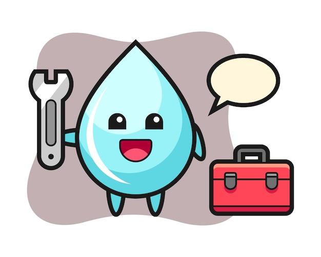 Desenho de mascote da gota de água como um mecânico, design bonito estilo para camiseta