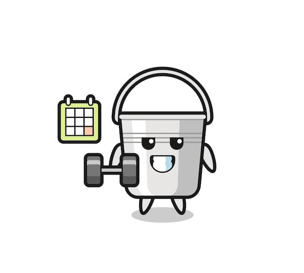 Desenho de mascote de balde de metal fazendo exercícios com halteres, design de estilo fofo para camiseta, adesivo, elemento de logotipo